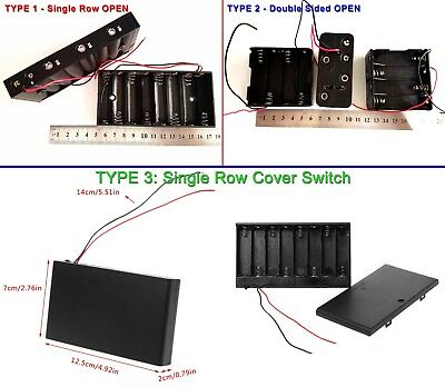 1 PC - 3 TYPES 12V (8*1.5V) AA Battery Holder for 12VDC LED Strips & Devices