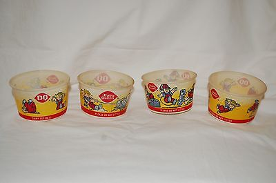 Vintage Lot 4 Dairy Queen Dennis The Menace Wax Ice-Cream Cups 3 Diff Styles!!