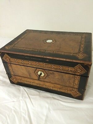 Antique Tunbridge Parquetry Hinged Lid jewelry Box w/ Working Key & Lock