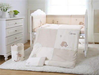 7pcs Baby Crib Bedding set Bumpers Quilt Pillow Cot Sheet Organic Cotton AU001
