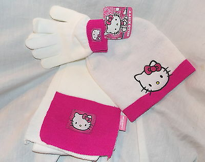 Girls Hello Kitty 3 Piece Hat Gloves and Scarf Set - New with tag
