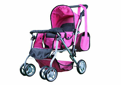 Twin Baby Doll Stroller Toy for Girl Kid Pretend Play Carriage Bag Toys Gifts