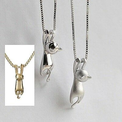 "3/4"" x 1/8"" TINY HANGING CAT Charm Necklace with 18-20"" Adjustable Chain"