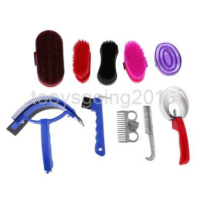 10 Pieces Horse Grooming Kit Set Barn Supply Brushes Comb Hoof Pick