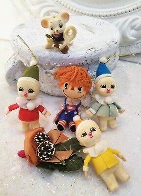 old felt wool Ornament LOT figures Andy mouse corsage  6 pc