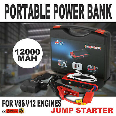 Power Bank V8 V12 Jump Starter 12000mAh Supreme Lithium Ion With Case NEWEST