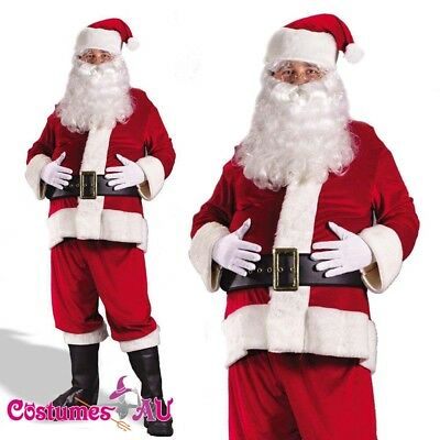 Mens Flannel Santa Claus Suit Clause Christmas Xmas Fancy Dress Adult Costume
