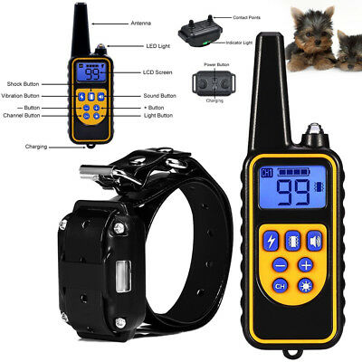 Electric Shock Dog Training Collar Rechargeable Remote Anti Bark Control Collar