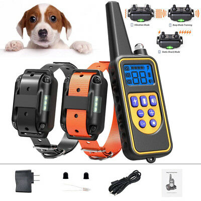 For 2 Dog Electric Shock Training Collar Rechargeable 2600ft Remote Pet Trainer