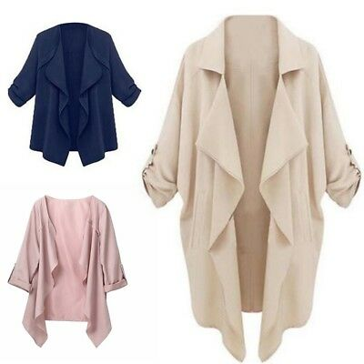 L-5XL Womens Waterfall Trench Coat Thin Long Sleeve Cardigan Tops Duster Jacket