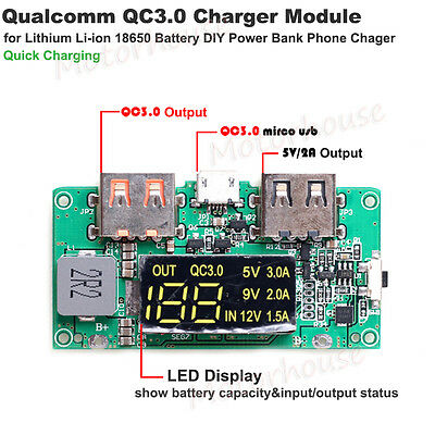 QC3.0 USB Lithium Li-ion 18650 Battery Quick Charge Module DIY Phone Power Bank
