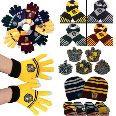 Xmas Gifts Harry Potter Warm Thicken Scarf Hat Gloves Badge Pin Cosplay