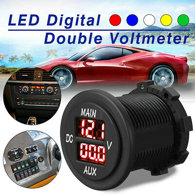 12V 24V Car Motorcycle LED Digital Panel Dual Voltmeter Ammeter Volt Meter Guage