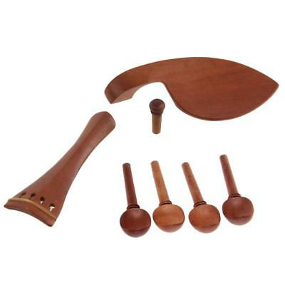4/4 Violin Chinrest & Tailpiece & Endpin & Tuning Pegs Set Jujube Wood Brown