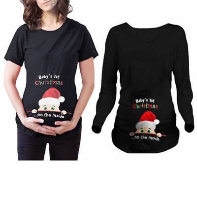 Baby's 1st Christmas on the side Maternity Funny T-shirt Pregnancy Tee Xmas Top
