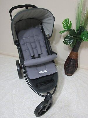 Pram liner set,universal,100% cotton fabric-Dark Grey-Funky babyz