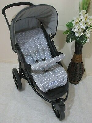 Pram liner set,universal,100% cotton fabric-Grey with stars-Funky babyz