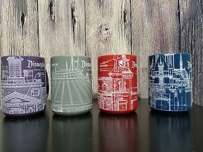 Disney Parks Disneyland Resort Blueprint Engineering Diagram Mug Set 4