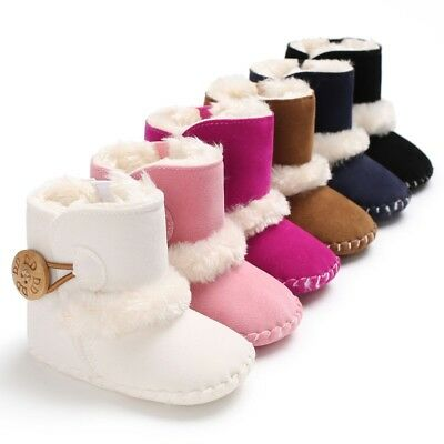 Baby Girl Fur Button Warm Boots Booties Infant Toddler Newborn Snow Slippers UK