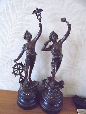 Pair Of French Bronzed Spelter Figures Le Telephone & Le Commerce