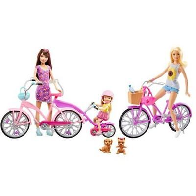 Barbie Camping Fun Dolls Bikes with Accessories Play Set for Kids Girls New Gift