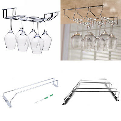 Bar Under Cabinet Display Hanging Shelf Stemware Wine Glass Holder Goblet Rack