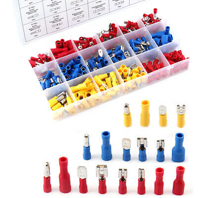 480pc Insulated Assorted Electrical Wire Terminal Crimp Connector Ring Spade Set