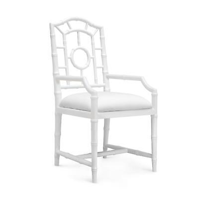Bungalow 5 Chloe Traditional White Lacquered Mahogany Armchair Set of 2