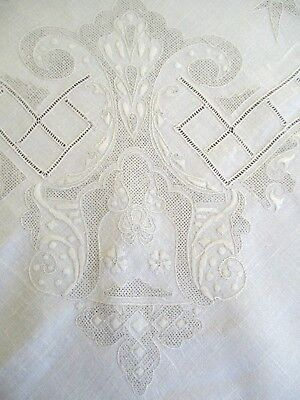 Exquisite Antique Vintage  Hand Embroidered French White Cream Linen Tablecloth