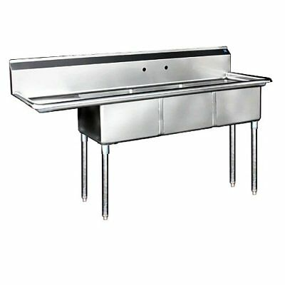 """Stainless Steel 3 Compartment Sink 74.5"""" x 24"""" with Left Drainboard"""