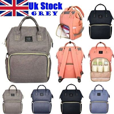 New Land Large Baby Diaper Backpack Mommy Changing Bag Mummy Nappy- Grey