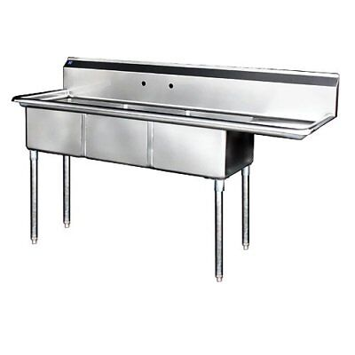 "Stainless Steel 3 Compartment Sink 74.5"" x 24"" with Right Drainboard"