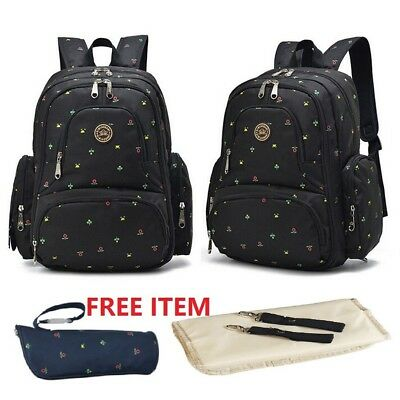 Nappy Mother Mummy Backpack Diaper Baby Pad Changing Shoulder Bag- Floral Black