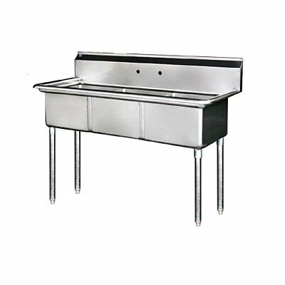 "Stainless Steel 3 Compartment Sink 59"" x 24"" No Drainboards"