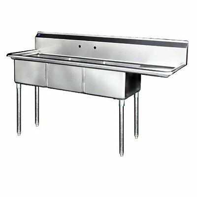 """Stainless Steel 3 Compartment Sink 62.5"""" x 21"""" with Right Drainboard"""