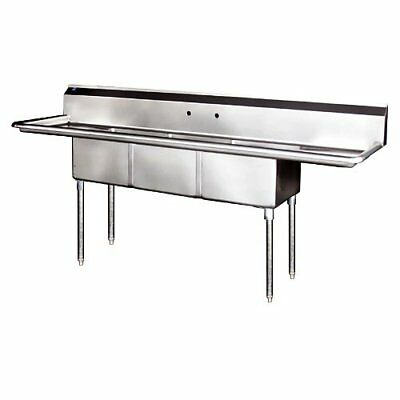 "Stainless Steel 3 Compartment Sink 75"" x 21"" with 2 Drainboards"
