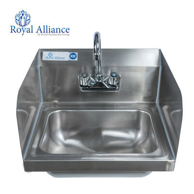 "Stainless Steel Wall-Mount Hand Sink with Faucet  9"" x 9"" Bowl & Side Splashes"