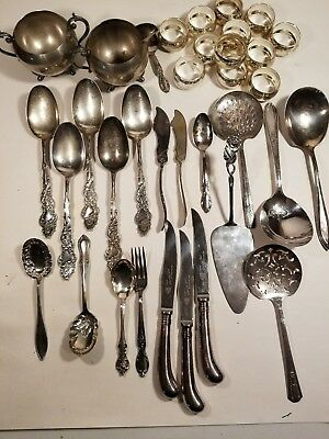 """Antique Vintage Silver Plate Sterling"""" Mixed"""" Estate Lot 35 Pierced Tomatoe.."""