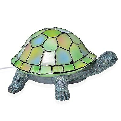 Hand Painted Multi Color Tiffany Turtle Lamp with Chroma Base Stand8x5x7.5In