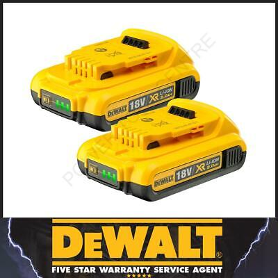 DeWalt Genuine DCB183 XR 18V 2.0Ah Li-Ion Slide Battery 18V 18 Volt X2 Twin Pack