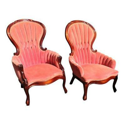 Antique Victorian Pink Velvet His & Hers Highback Mahogany Tufted Parlor Chairs