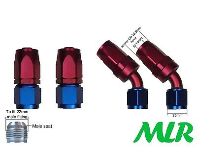 Mlr An-10Jic Straight & 45° Red Blue Oil Cooler Remote Filter Hose Pipe Fittings