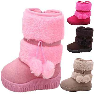 Toddler Baby Boys Girls Newborn Prewalker Winter Snow Warm Boots Soft Shoes 1-6T