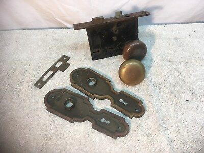 Vintage Antique Art Deco Brass Door Lock Set Lock Plates Brass Knobs Handles