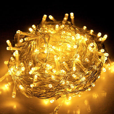 250 LED Christmas String Lights Fairy Party Wedding Outdoor Garden Warm Yellow