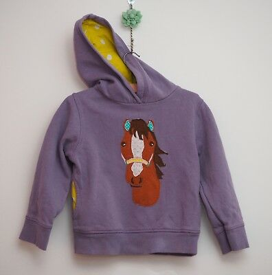 Mini Boden hoodie age 3-4 years purple horse applique hooded jumper