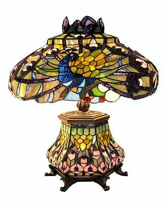 Handcrafted Peacock Stained Glass Shade Tiffany Style Table Lamp Lit Base Decor