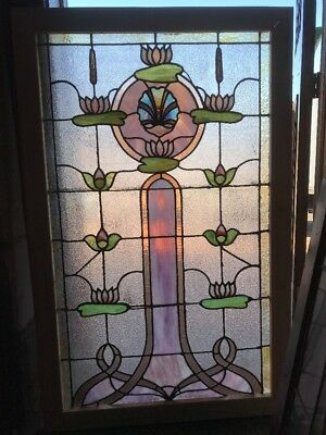 Sg 1689 Antique Stainglass Lillypad Landing Window 34.5 X 55