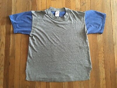 Vintage Youth Kids Jerzees Two Tone Ringer T-shirt L Soft Heather Gray Adult XS