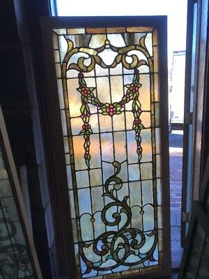 Sg 1690 Gorgeous Antique Stainglass Landing Window Jeweled 30.25 X 72.75